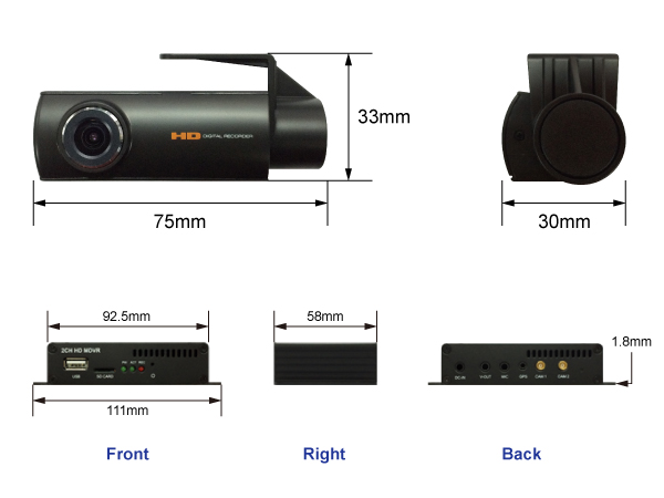 CarCam Pro D16 dashcam afmetingen